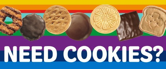 "Image of Girl Scout Cookies that reads ""Need Cookies?"""