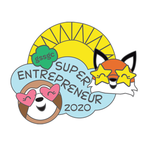 Pin that reads Super Entrepreneur 2020 and has a sun, cloud, fox and sloth depicted
