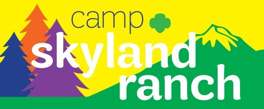 "Image Reads ""Camp Skyland Ranch"" and has illustrations of trees and mountains"
